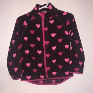 H&M Pink Hearts Brown Zip Up Sweater size 18-24M